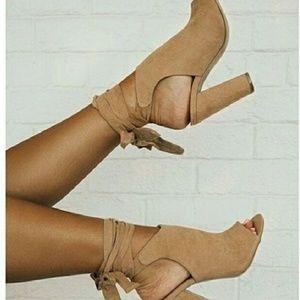 Tan lace up peep toe shoes